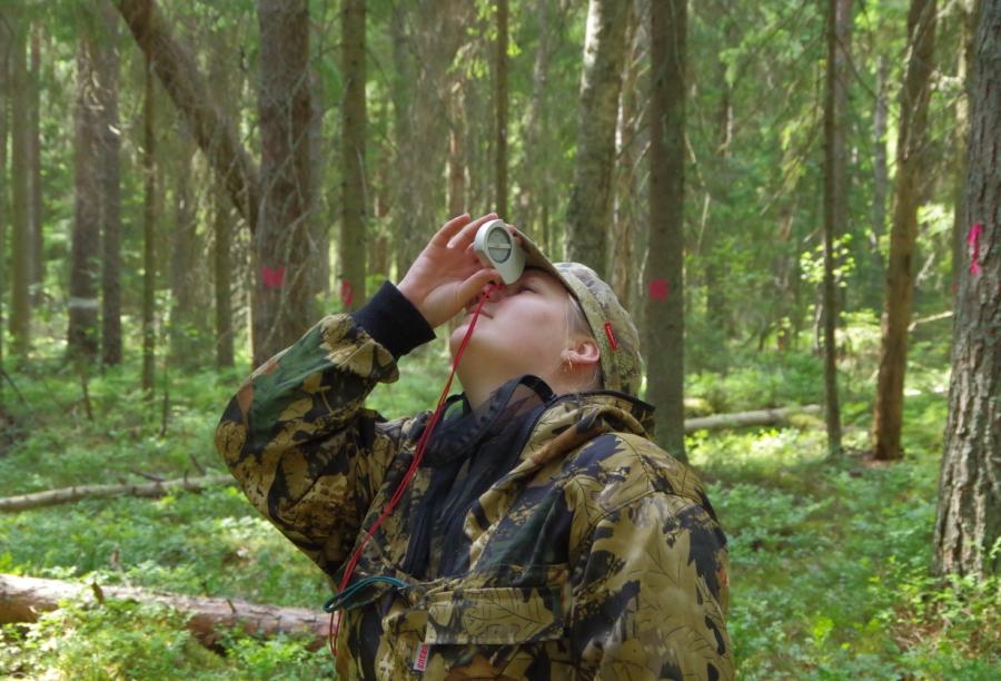 Сотрудник с высотомером. Установление высоты деревьев в пункте постоянного наблюдения.